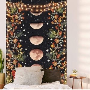 Floral Moon Phases Aesthetic Wall Hanging Tapestry